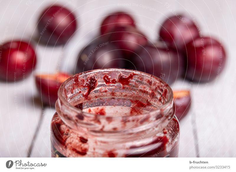 Pflaumenkonfitüre Lebensmittel Frucht Marmelade Ernährung Frühstück Büffet Brunch Glas Gesunde Ernährung Küche wählen genießen frisch Gesundheit marmeladeglas