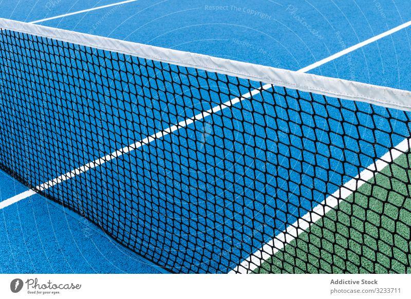 Blauer Tennisplatz keine Menschen Farbe abstrakt aktiv Aktivität sportlich Hintergrund blau farbenfroh Konkurrenz Konzept Leerraum Übung Spiel Gesundheit