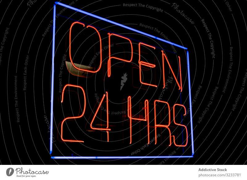 Neonschild 24 Stunden im Dunkeln geöffnet Nacht Licht neonfarbig Zeichen dunkel 24 Std. geöffnet Brief beleuchtet fluoreszierend Lampe Hinweisschild Öffentlich