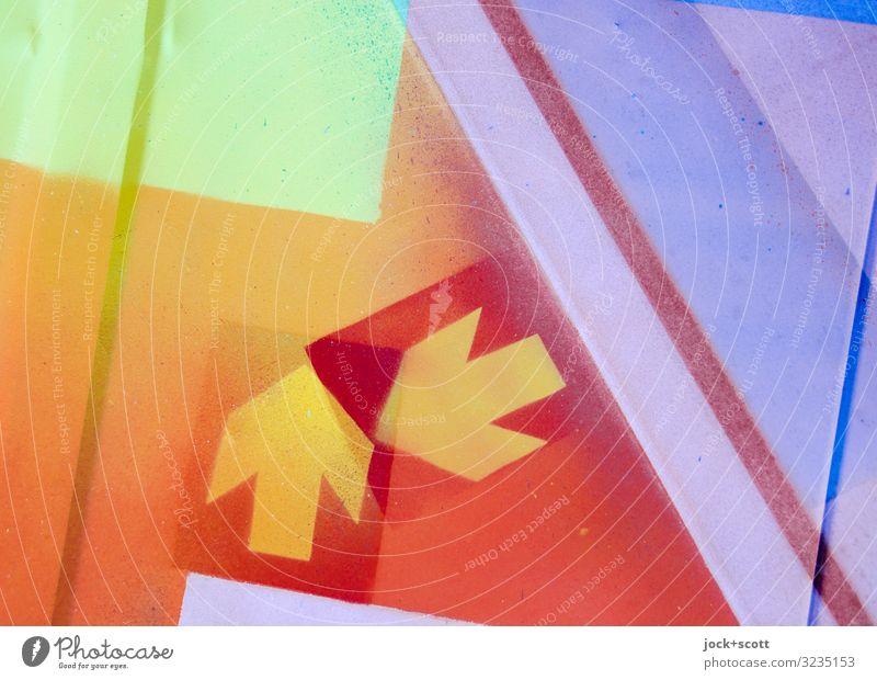 Trendsetter Subkultur Grafik u. Illustration Schilder & Markierungen Pfeil Strukturen & Formen einzigartig nerdig Einigkeit Design Kreativität Doppelbelichtung