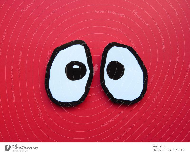 Große Augen machen Kommunizieren Blick groß Neugier rot schwarz weiß Gefühle Überraschung erstaunt Starrer Blick Farbfoto Studioaufnahme Menschenleer