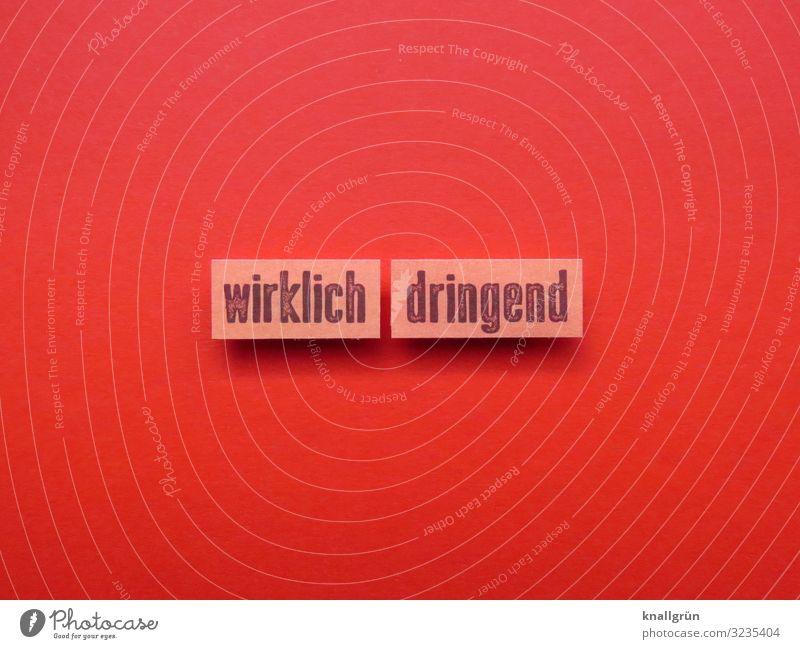 Wirklich dringend wichtig Notsituation Gefühle Druck Notlage Erwartung Stress Stimmung Buchstaben Wort Satz Letter Typographie Sprache Schriftzeichen