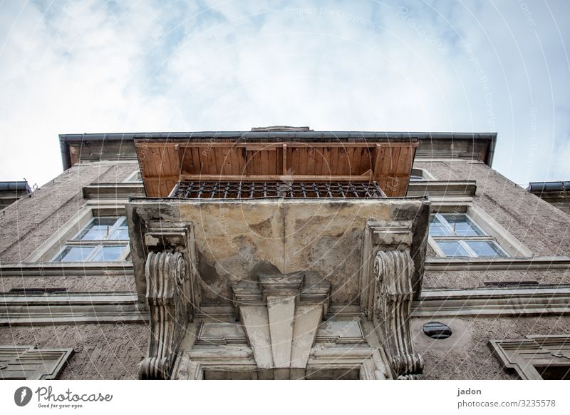 logenplatz. elegant Stil Wohnung Traumhaus Kunst Stadt Haus Hochsitz Gebäude Architektur Mauer Wand Fassade Balkon Ornament alt historisch oben Idylle Nostalgie