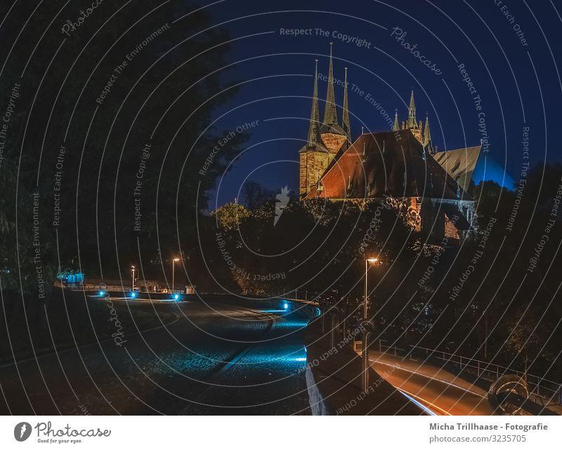 Erfurter Dom in der Nacht Ferien & Urlaub & Reisen Tourismus Städtereise Nachthimmel Deutschland Europa Stadt Stadtzentrum Altstadt Menschenleer Kirche Bauwerk