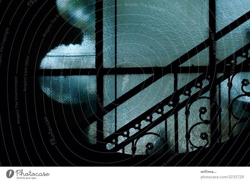 der spanner Kirchenfenster Geländer Treppengeländer türkis Riffelglas Glasfassade Glaswand Rundfenster Voyeurismus Einblick Gotteshäuser Farbfoto