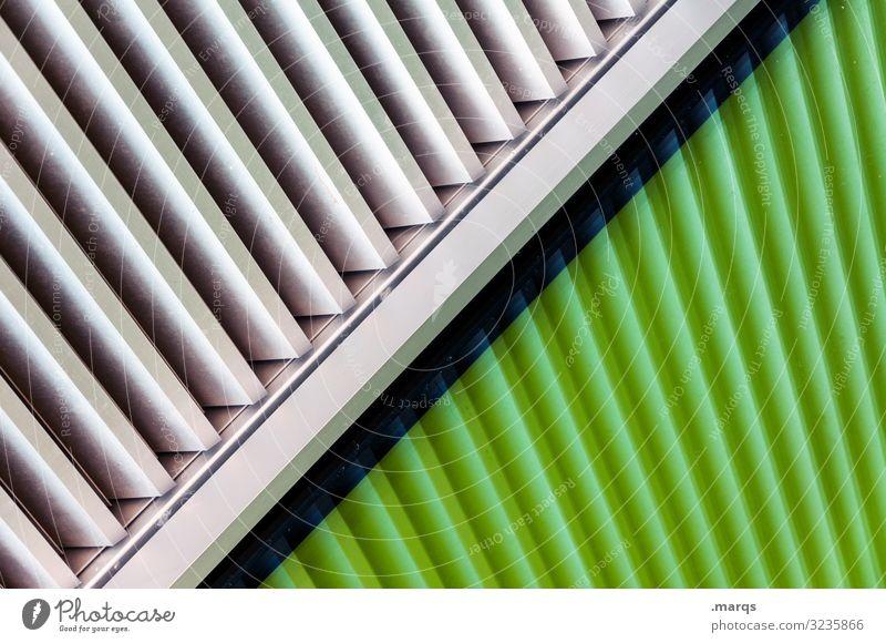 Kreuz und Quer Architektur Fassade Metall Kunststoff Linie ästhetisch Coolness trendy modern grün weiß Design Farbe Futurismus Farbfoto Außenaufnahme