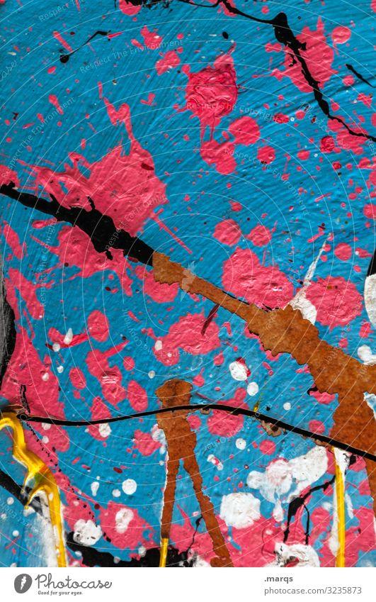 Klecks Kunst Mauer Wand Farbstoff klecksen spritzen Graffiti außergewöhnlich trendy einzigartig trashig Stadt blau rosa weiß Design Farbe Kreativität Farbfoto
