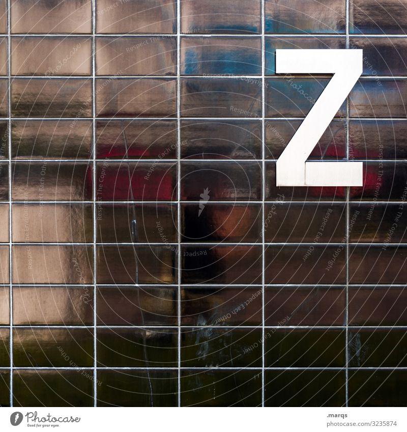 Z auf schwarzer Wand Buchstaben Alphabet Schriftzeichen weiß Reflexion & Spiegelung Kommunikation Fliesen u. Kacheln Farbfoto Typographie Lateinisches Alphabet