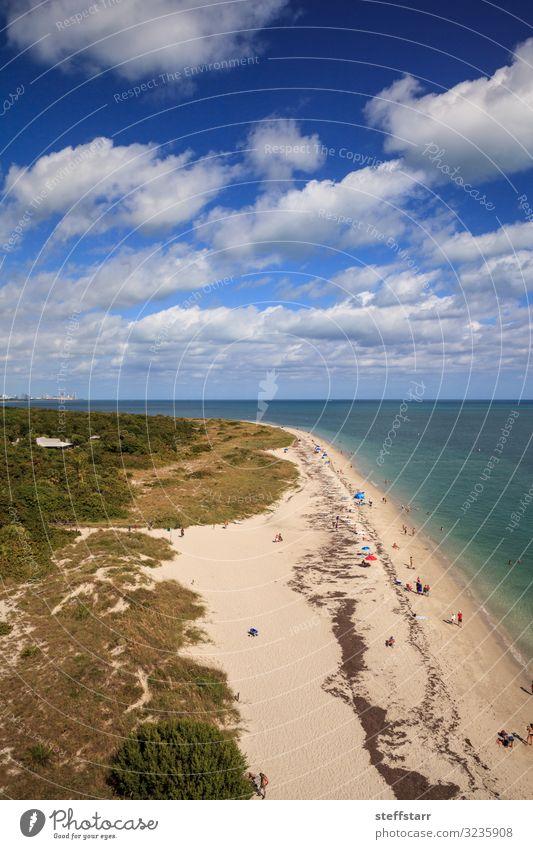 Luftaufnahme von Bill Baggs Cape Florida State Park Strand Meer Natur Landschaft Küste Fluggerät blau Schutz Luftaufnahme vom Strand Luftaufnahme am Wasser