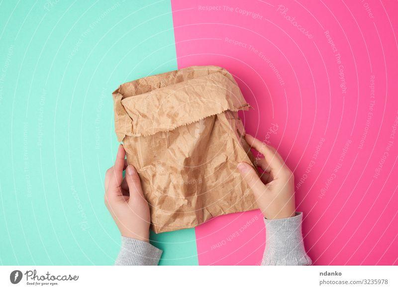 offene braune Papiertüte für Lebensmittelverpackungen kaufen Handwerk Umwelt Container Rudel Verpackung Paket oben grün rosa Farbe Halt Tasche blanko