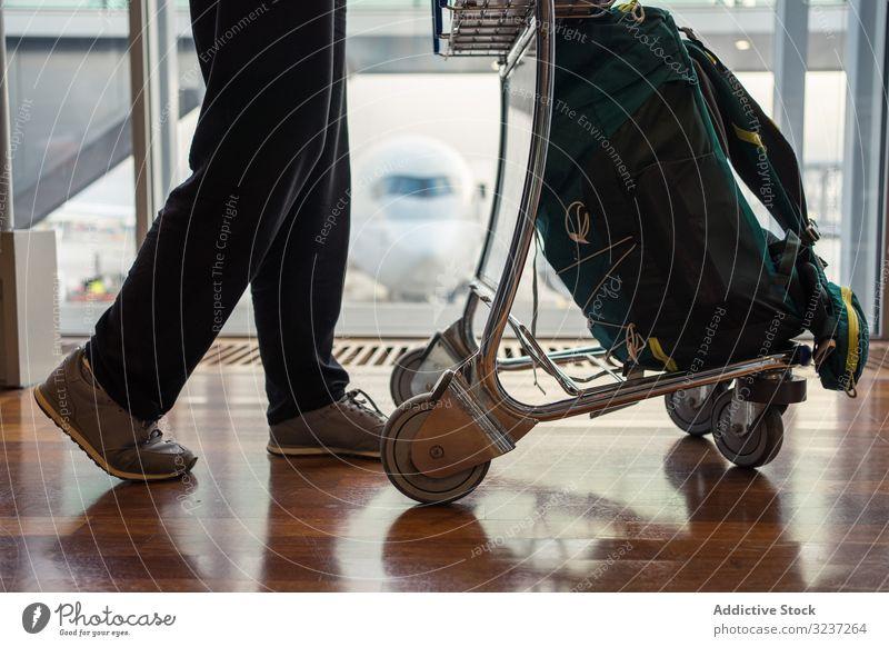 Personenbeine Gehwagen Frau Gepäck Flughafen reisen Abheben Ausflug Tourist Feiertag Koffer Urlaub Reise Passagier Reisender Tourismus Verkehr Ankunft Tasche