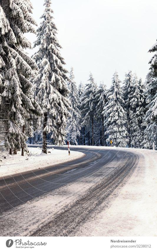 Straßenverhältnisse Himmel Ferien & Urlaub & Reisen Natur Weihnachten & Advent Landschaft Baum Wald Winter kalt Schnee Ausflug Schneefall Verkehr Eis Wetter