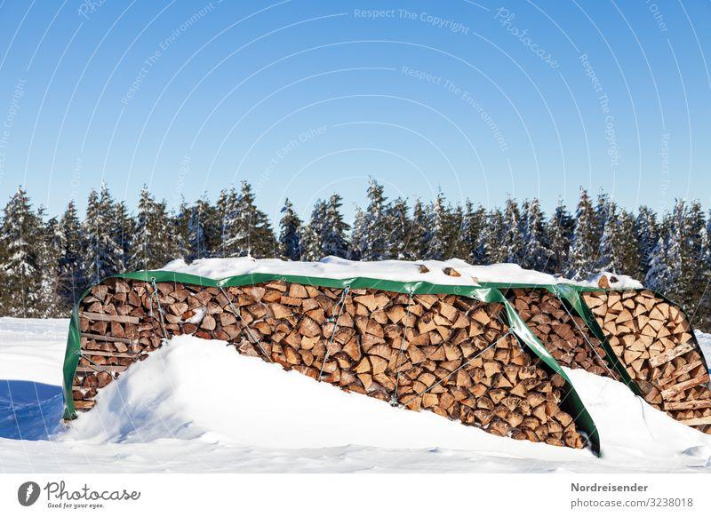 Holz vor der Hütte Ausflug Winter Energiewirtschaft Erneuerbare Energie Natur Landschaft Wolkenloser Himmel Sonne Klima Wetter Schönes Wetter Eis Frost Schnee