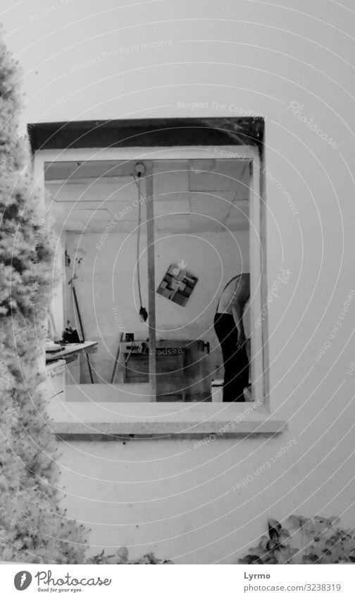 kopf_l_o_s Design Mensch androgyn Körper Haut 1 Mauer Wand Fenster Bekleidung Zeichen hören Blick stehen warten authentisch einfach einzigartig kaputt schwarz
