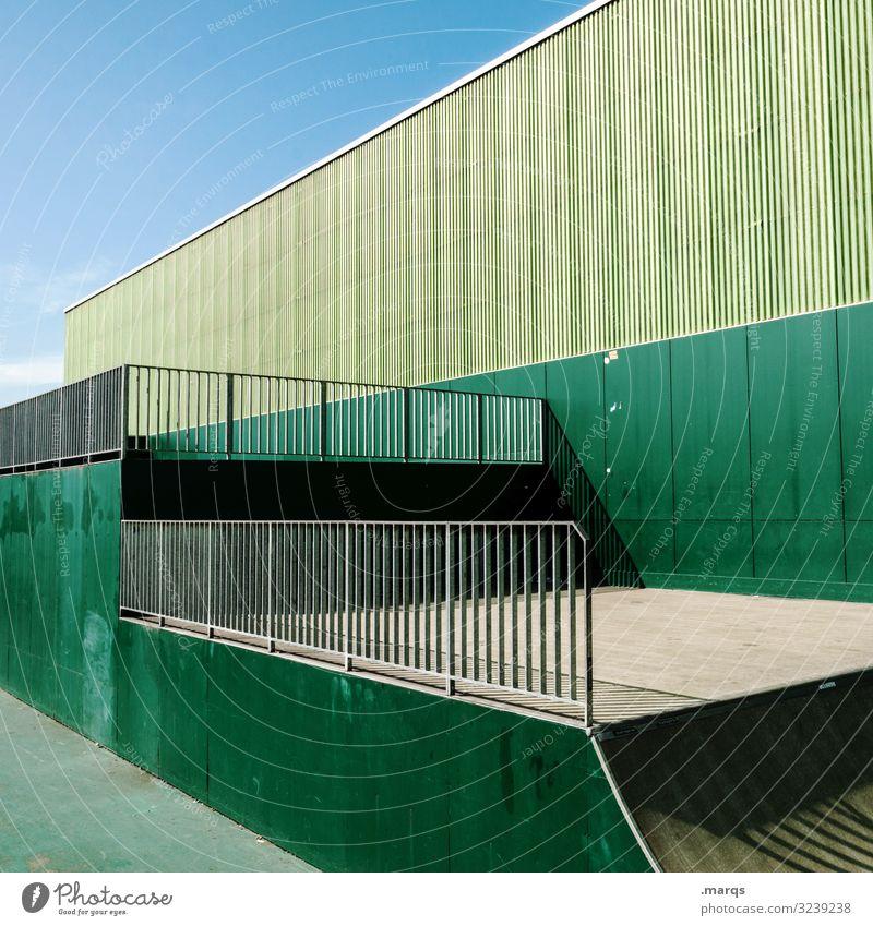 Architektur grün Halfpipe Sport Wand Himmel Ordnung Sportstätten Farbe Zaun Schatten