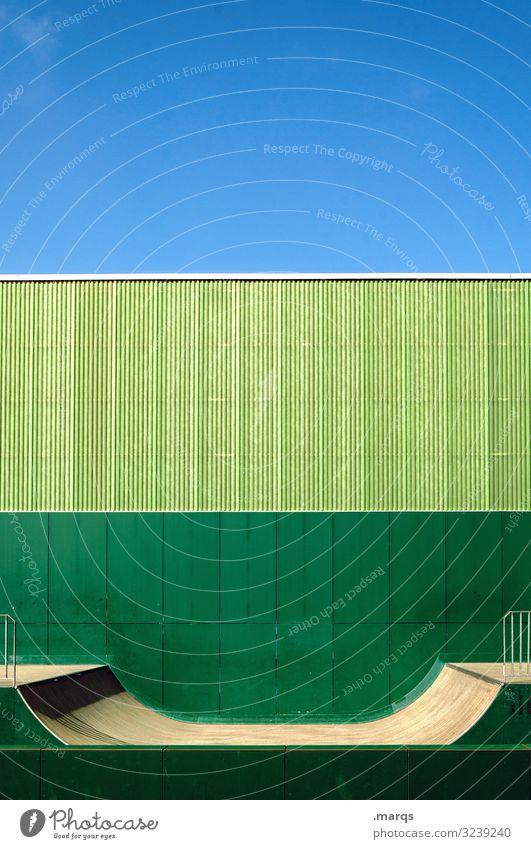 Halfpipe grün Sport Wand Himmel Ordnung Freizeit & Hobby Jugendkultur Sportstätten Farbe