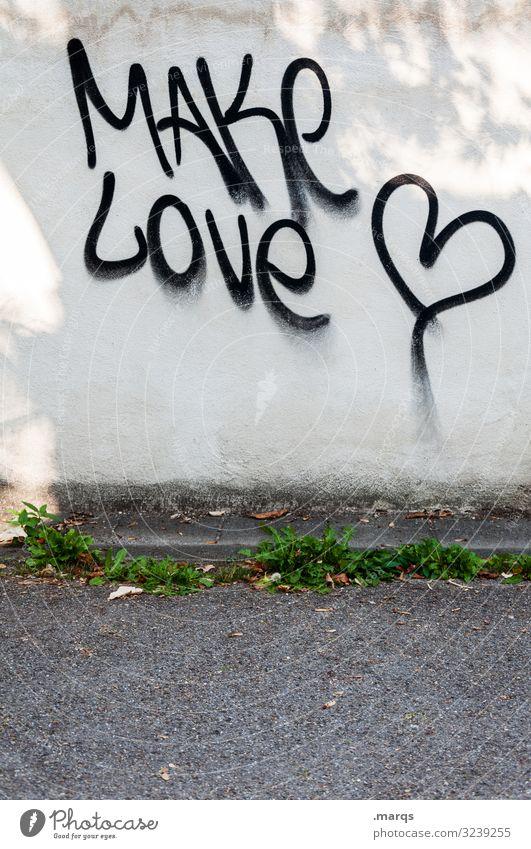 Make Love | Geschriebenes Mauer Wand Straße Zeichen Schriftzeichen Herz Kommunizieren Liebe Liebe machen Frieden Farbfoto Außenaufnahme Textfreiraum unten Licht