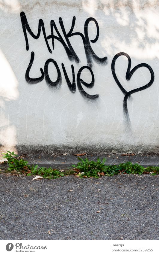 Make Love | Geschriebenes Straße Wand Liebe Mauer Schriftzeichen Kommunizieren Herz Zeichen Frieden