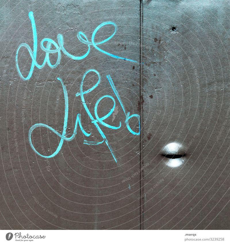 Love Life! - Graffiti Schriftzeichen Typographie grün Buchstaben Redewendung Wandmalereien Leben Liebe Glück gemalt Zufriedenheit Fröhlichkeit Freude Lifestyle