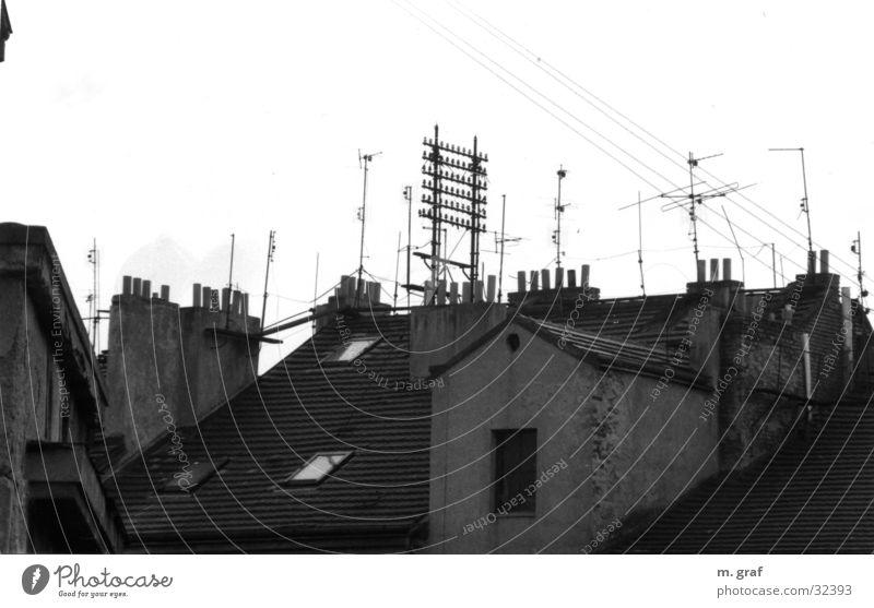Telekomunikation Dach Hochspannungsleitung Elektrisches Gerät Technik & Technologie parg telefonleitungen Schwarzweißfoto Kabel