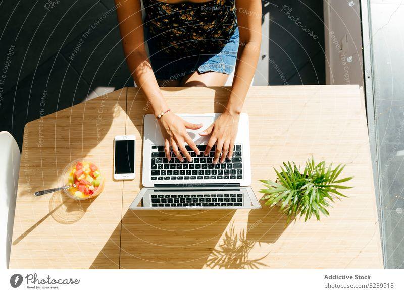 Erntehelferin mit Laptop im Café Frau benutzend Tippen Tisch Salatbeilage Frucht Pflanze Smartphone freiberuflich Schüler Gesundheit Lebensmittel Gerät