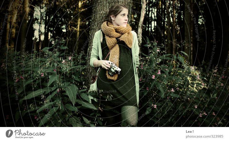 Rastplatz Körper Fotokamera feminin Junge Frau Jugendliche Schwester 1 Mensch 13-18 Jahre Landschaft Schönes Wetter Baum Sträucher Wald Kleid Schal brünett