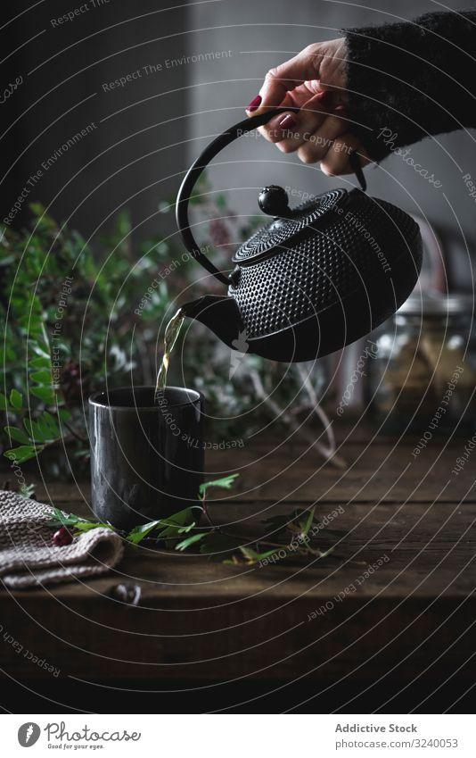 Frau gießt grünen Tee in Becher auf Holztisch mit grünem Kraut Kamille Teekanne eingießen Tasse heiß hölzern Gesundheit frisch Tisch Heißgetränk traditionell