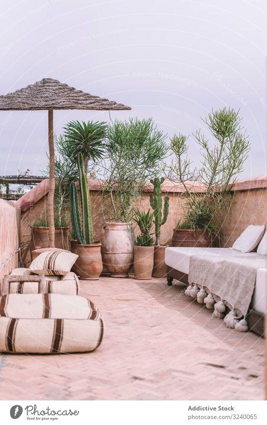 Pflanzen und Sofa auf der Terrasse tropisch Regenschirm Komfort Dekor Hotel Marrakesch Marokko Gebäude Haus exotisch Wachstum Vegetation Möbel Architektur