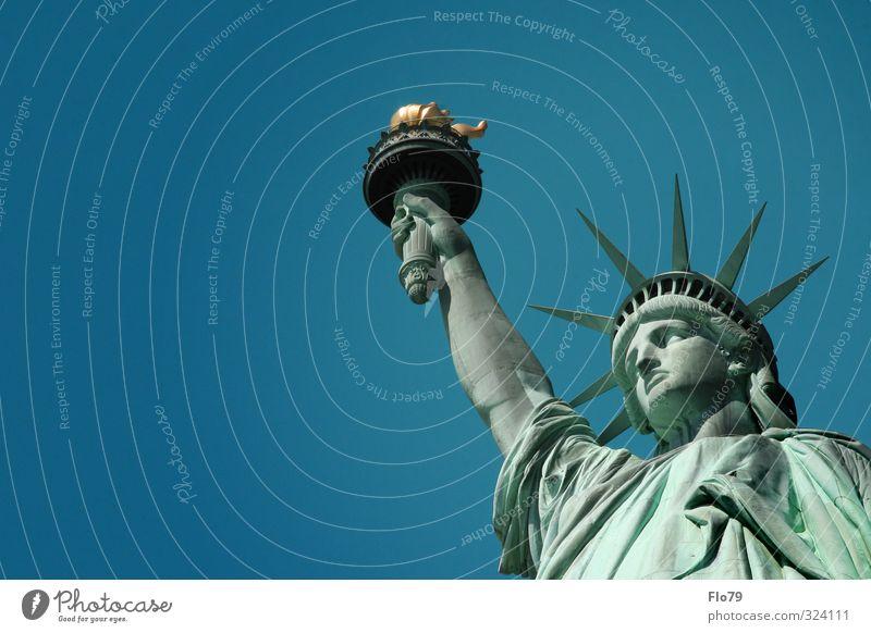 Freiheit Kunst Skulptur Kultur Himmel Wolkenloser Himmel Frühling Sommer Schönes Wetter New York State USA amerika Stadt Sehenswürdigkeit Denkmal
