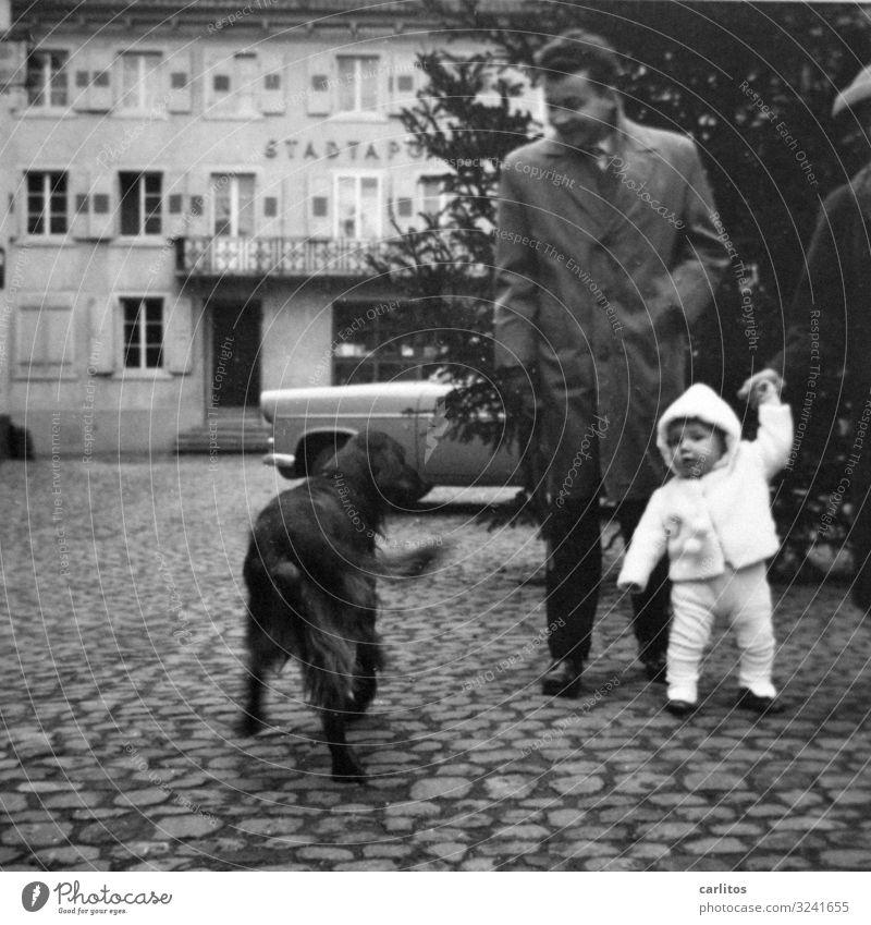 Mein erster Haarschnitt .. Kind Junge Fünfziger Jahre Onkel Hund Irish Setter Konflikt & Streit früher Vergangenheit