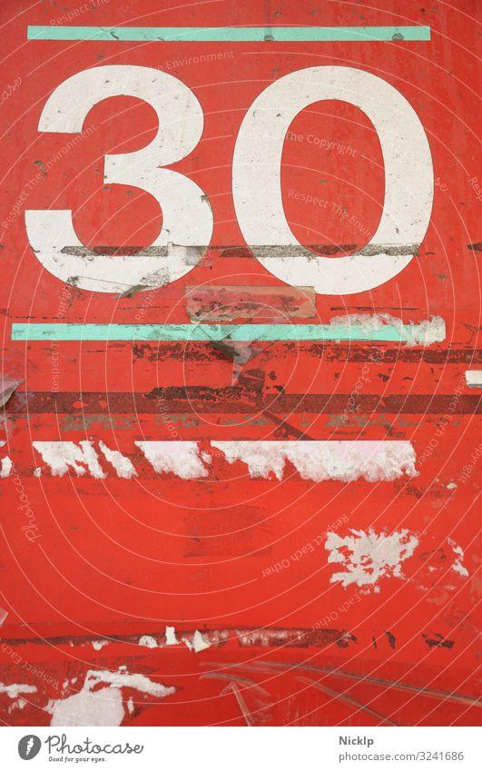 Nummer 30 - Dreißig - Textur - Texture - rot - weiß - türkis Party Geburtstag Jubiläum Kunst Zeichen Schriftzeichen Ziffern & Zahlen Ornament Graffiti dreckig