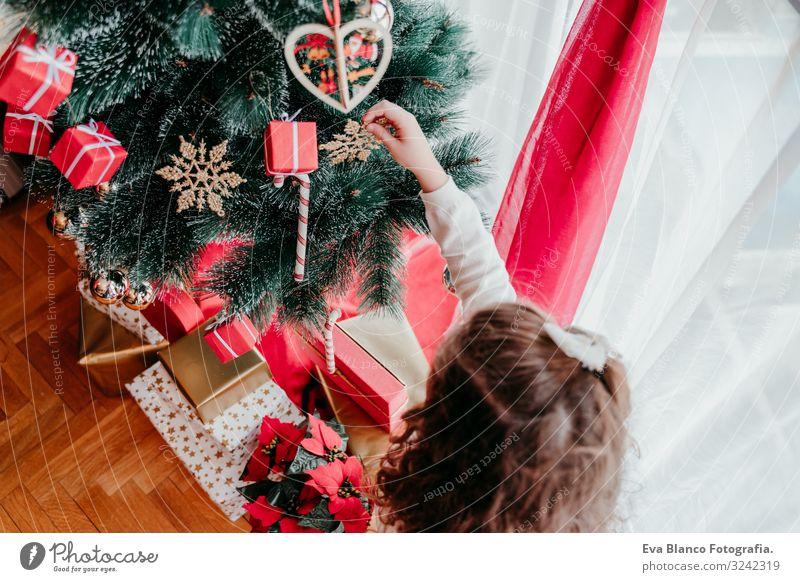 Kind Mädchen schmückt Weihnachtsbaum zu Hause Lifestyle Glück Winter Dekoration & Verzierung Weihnachten & Advent feminin Kleinkind Schwester