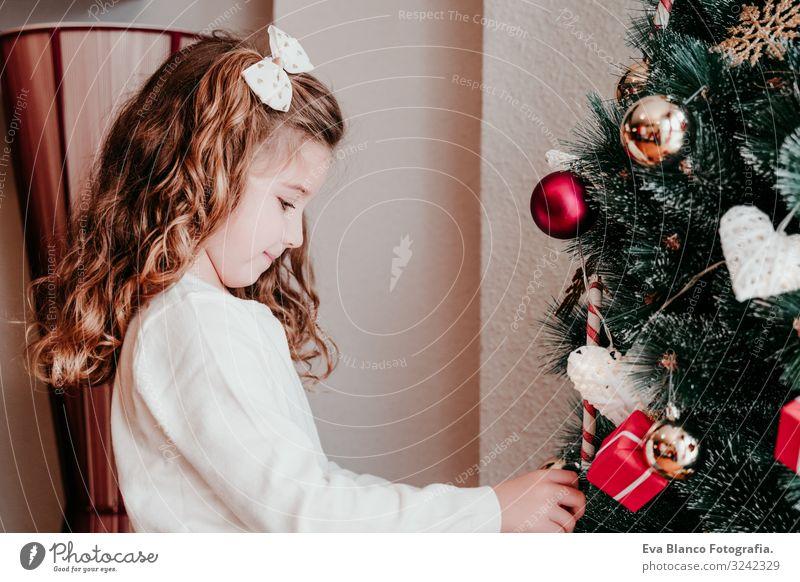 Kind Mädchen schmückt Weihnachtsbaum zu Hause Lifestyle Freude Winter Dekoration & Verzierung Weihnachten & Advent feminin Kleinkind Schwester