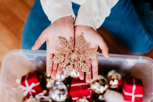 Kind Mädchen schmückt Weihnachtsbaum zu Hause Lifestyle Winter Schnee Dekoration & Verzierung Weihnachten & Advent feminin Kleinkind Schwester