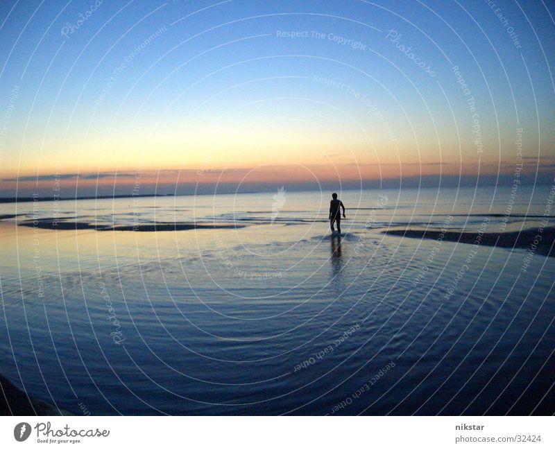 setting sun Meer Strand Sonne Himmel Mensch