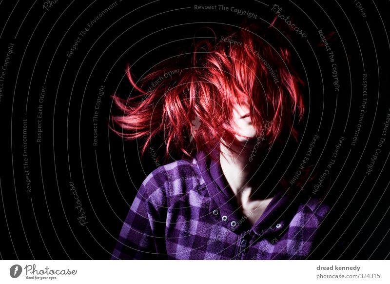 Frau mit roten Haaren Stil Haare & Frisuren Party Club Disco ausgehen Feste & Feiern clubbing Tanzen feminin Junge Frau Jugendliche Erwachsene Kopf Lippen 1