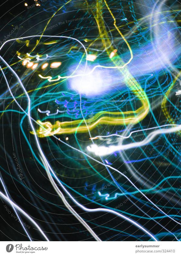 Anflug blau grün Feste & Feiern Party leuchten Verkehr Tanzen Technik & Technologie Zukunft Telekommunikation Silvester u. Neujahr Bar Jahrmarkt Flughafen