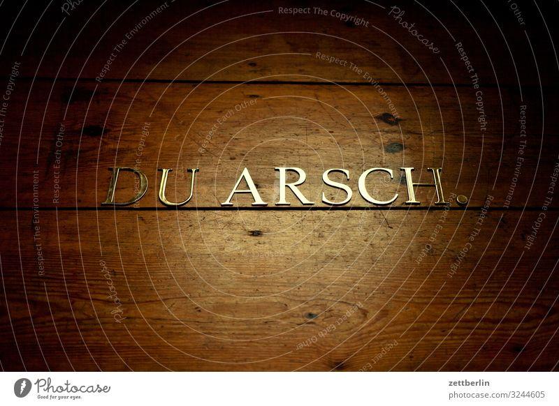 DU ARSCH. Lateinisches Alphabet antiqua Gesäß schimpfen Buchstaben einzelbuchstabe Klassizismus Text Schimpfwort Schriftzeichen Schriftsetzer Typographie