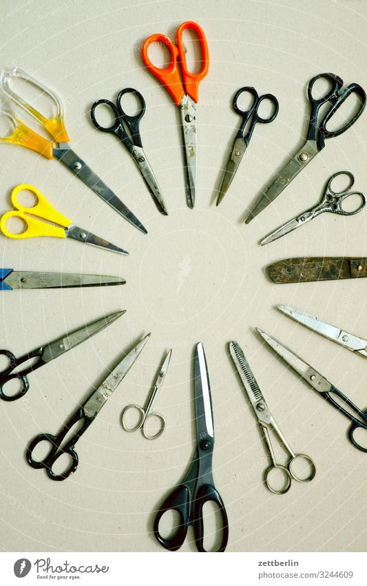 Scheren Kreis Dinge rund viele Schreibtisch Basteln Werkzeug Menschenmenge Verschiedenheit Trennung geschnitten Auswahl Formation Schneidewerkzeug