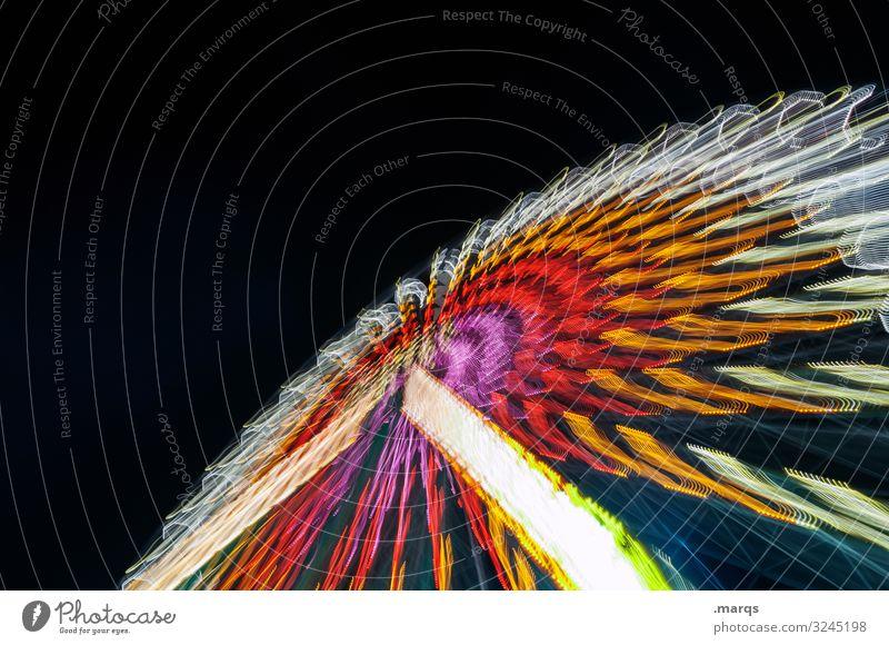 Riesenrad nachts Jahrmarkt Nachtaufnahme Freude Geschwindigkeit Karussell Fahrgeschäfte Attraktion mehrfarbig Langzeitbelichtung Bewegung Kreis oben Oktoberfest