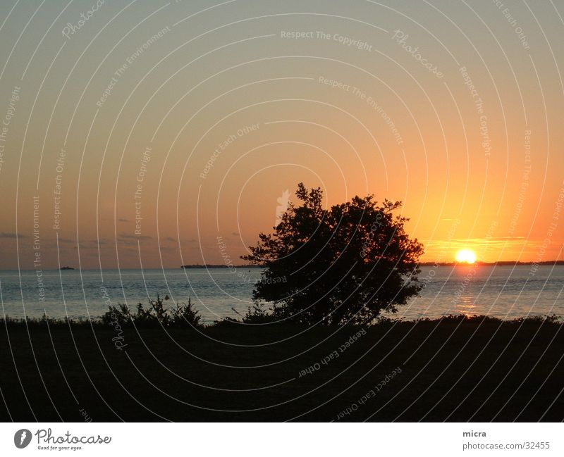 Sonnenuntergang Meer Sommer Ferien & Urlaub & Reisen