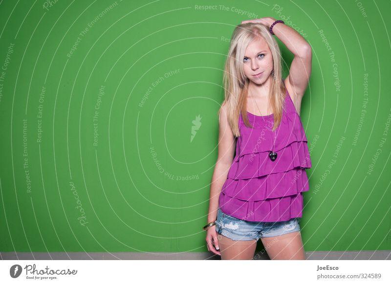 #324589 Stil Frau Erwachsene 1 Mensch 18-30 Jahre Jugendliche Mode Jeanshose Strumpfhose blond langhaarig beobachten stehen frech Fröhlichkeit frisch trendy