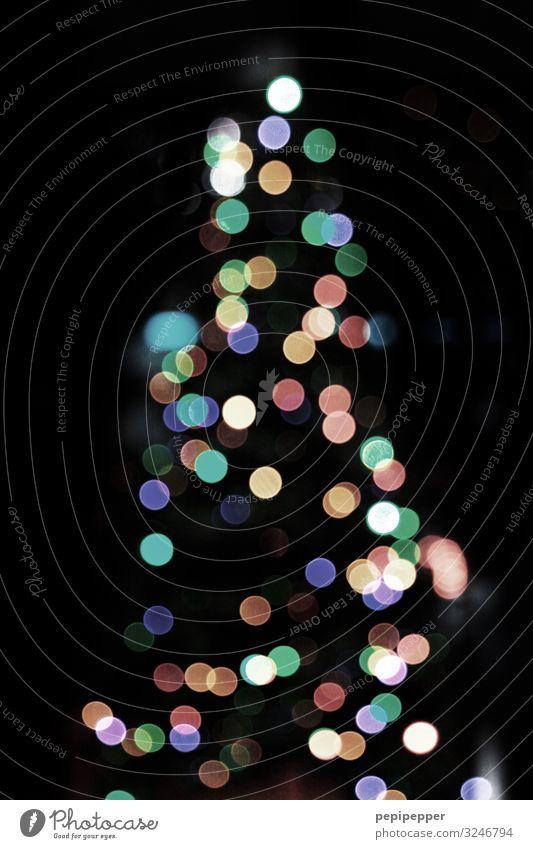 Baum Weihnachten & Advent Kitsch Krimskrams Ornament Graffiti Kugel leuchten mehrfarbig Weihnachtsbaum x-mas Lichterkette Gedeckte Farben Außenaufnahme