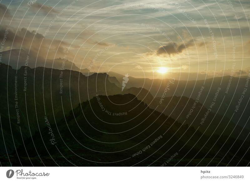 Smokey Mountains Berge u. Gebirge Natur Landschaft Urelemente Himmel Sonne Alpen Gipfel Farbfoto Außenaufnahme Abend Dämmerung