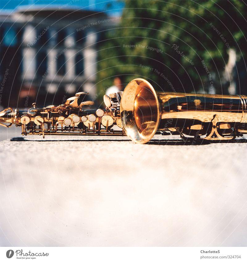 Saxophone Stadt Mauer Metall Gold Pause Spanien Baumkrone analog Musikinstrument Mittelformat Klappe Kupfer Schall Saxophon Blechblasinstrumente