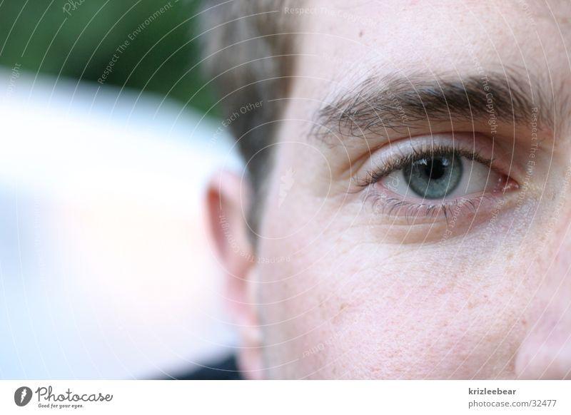 halfface Mann blau Gesicht Auge Hälfte