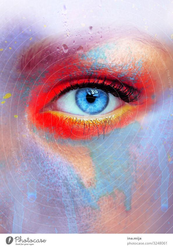 800 | Hautfarbe Farben bunt bunt gemischt rot orange gelb purpur blau Auge Augenfarbe farbig Farbigkeit mehrfarbig abstrakt bereits Nahaufnahme Farbfoto Moment
