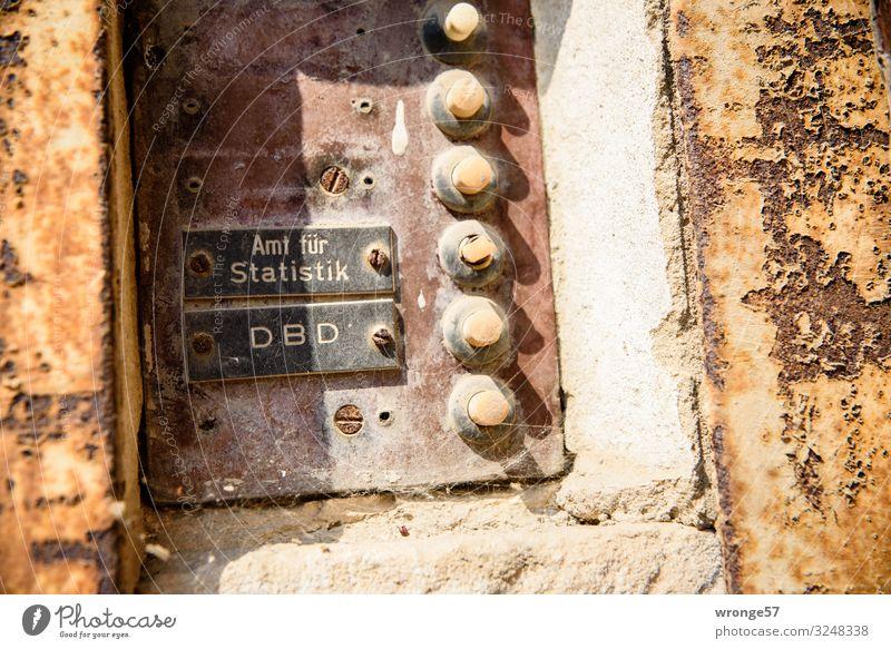 Nahaufnahme eines alten verwitterten Klingelschildes an einem Altbau mit dem Namensschild des Amtes für Statistik und des DBD Klingelanlage Klingelbrett