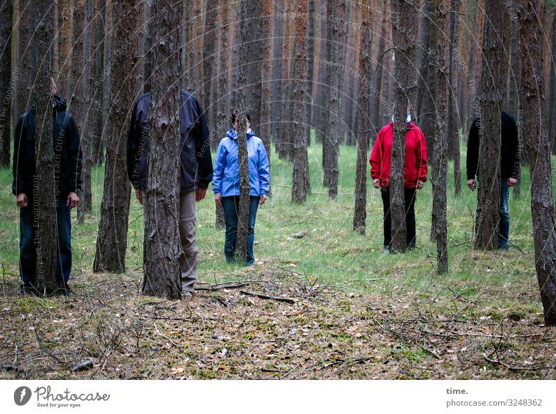Spiele im Wald | verstecken üben maskulin feminin Frau Erwachsene Mann Arme Beine 5 Mensch Umwelt Natur Landschaft Baum Unterholz Wiese Hose Jacke stehen