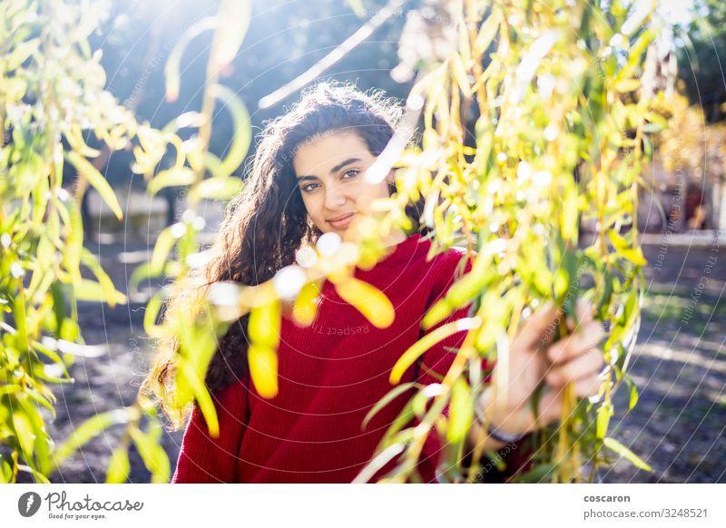 Porträt einer jungen Frau mit rotem Pullover Lifestyle Stil Glück schön Garten Schulkind Mensch feminin Junge Frau Jugendliche Erwachsene 1 13-18 Jahre Natur